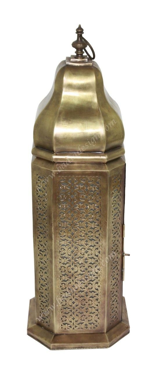 Tall Brass Floor Lantern with White Glass - LIG298, Lantern, brass lantern, Moroccan brass lantern,  (http://www.badiadesign.com/tall-moroccan-brass-floor-lantern-lig298/)