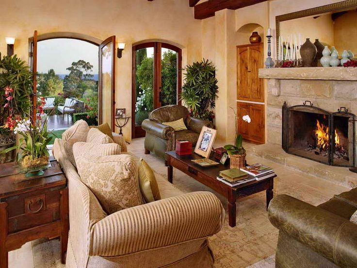 Tuscan Decorating Ideas For Living Room : Tuscan Decorating Ideas For  Living Room With Glass Doors