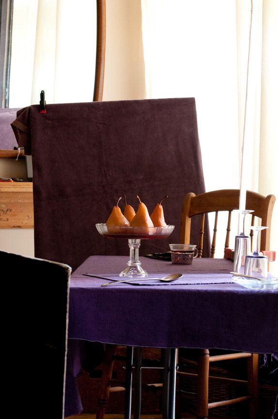 Behind the scenes- lighting set up for poached pears