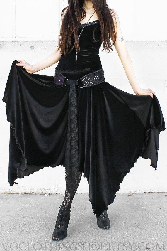 WITCHY BLACK VELVET maxi skirt stretch velvet by voclothingshop