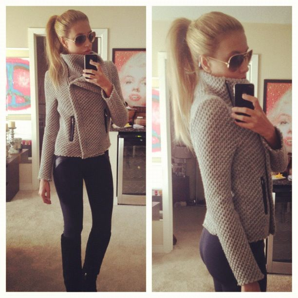 Moto Jacket with leggings and black boots and a high pony.  Fabulous easy look at ANY price point