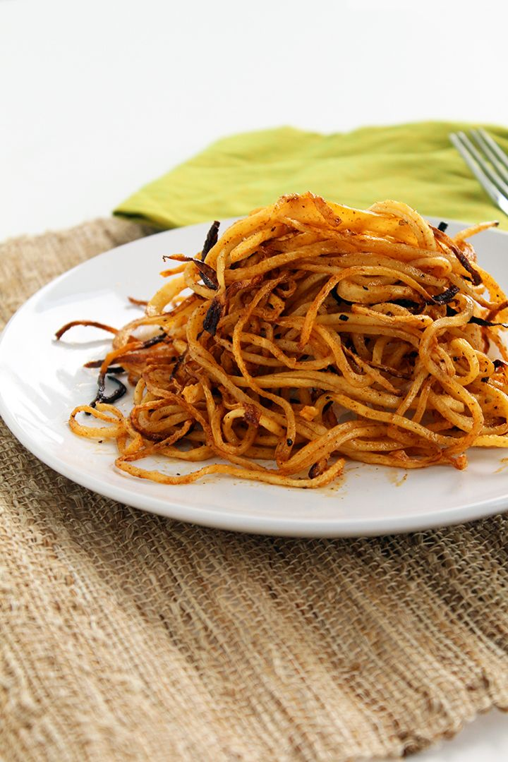 Spicy Spiralized Shoe String Jicama Fries from Inspiralized