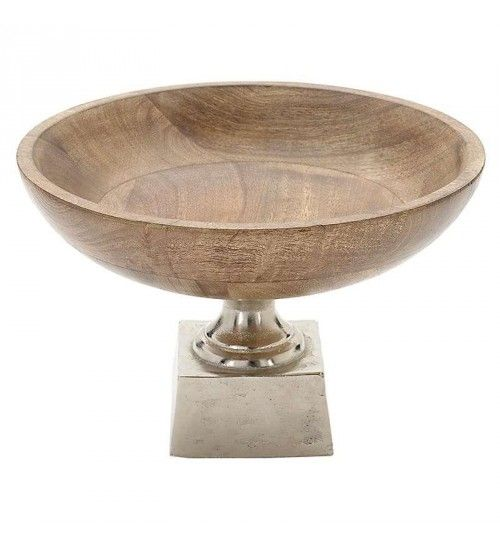 ALUMINIUM_WOODEN BOWL IN BROWN COLOR 25X25X16