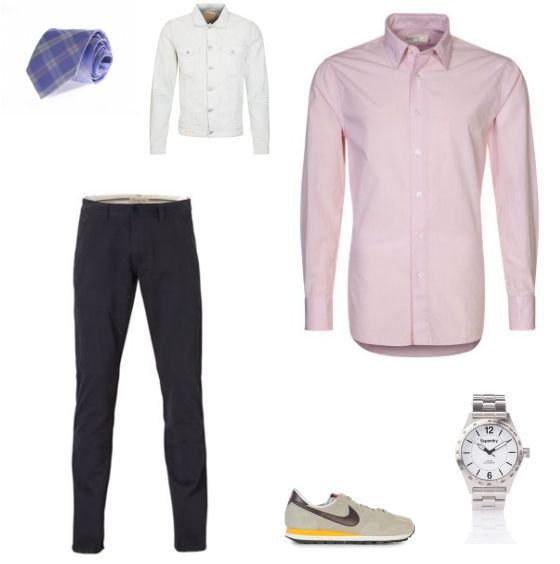 Pastel Kleuren Outfit outfit - Business - Bij deze look draait het allemaal om het combineren van zachte kleuren. Het roze overhemd van Pier One en het gebleekte spijkerjack van Replay vullen elkaar mooi aan. De broek van Selected homme zorgt voor balans. De sneakers van Nike geven het geheel een sportief tintje. De stropdas van Suitableshop en het horloge van Superdry maken de look af.