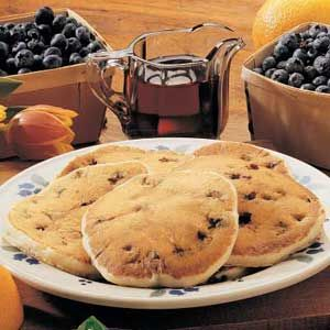 Blueberry/ChocChip Pancakes for Two ~ tip - put a half tsp of vanilla in with liquids, don't over stir a few lumps in batter are fine.