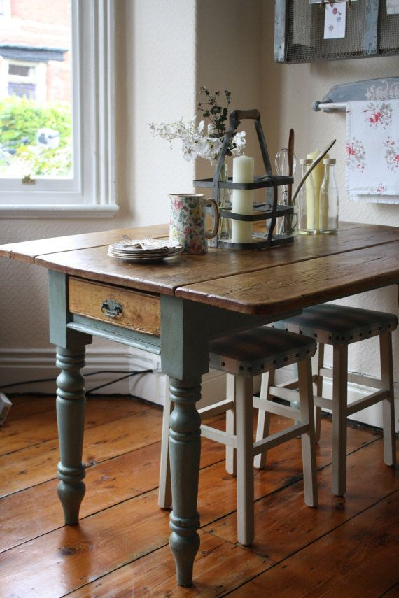Vintage Pine Drop Leaf Table with Turned Legs and by ArthurandEde