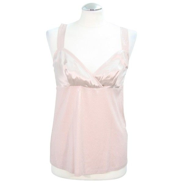 Pre-owned Sequin shell in pink (€59) ❤ liked on Polyvore featuring tops, pink, pink tank, pink tank top, sequined tank tops, pink sequin tank top and sequin embellished top
