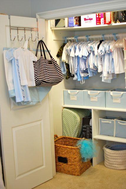 Nursery closet ideas - And a load of great photos of a beautiful nursery for a little boy :-). Plus, gotta love the Kate spade diaper bag!