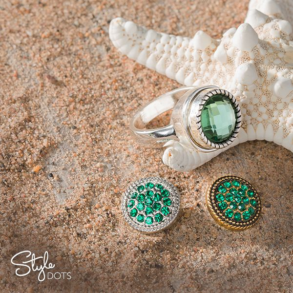 Our Classic Ring (comes in sizes 4 - 10) is the perfect Style Dots foundation to show off your May birthstone.  Shown with the Emerald Solitaire snapped in and the Emerald Ice 12 mm Dots in both the silver and gold finishes nearby.