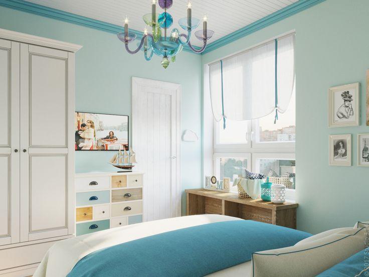 Комод с цветными ящиками разного размера похож на своих собратьев в гостиной.