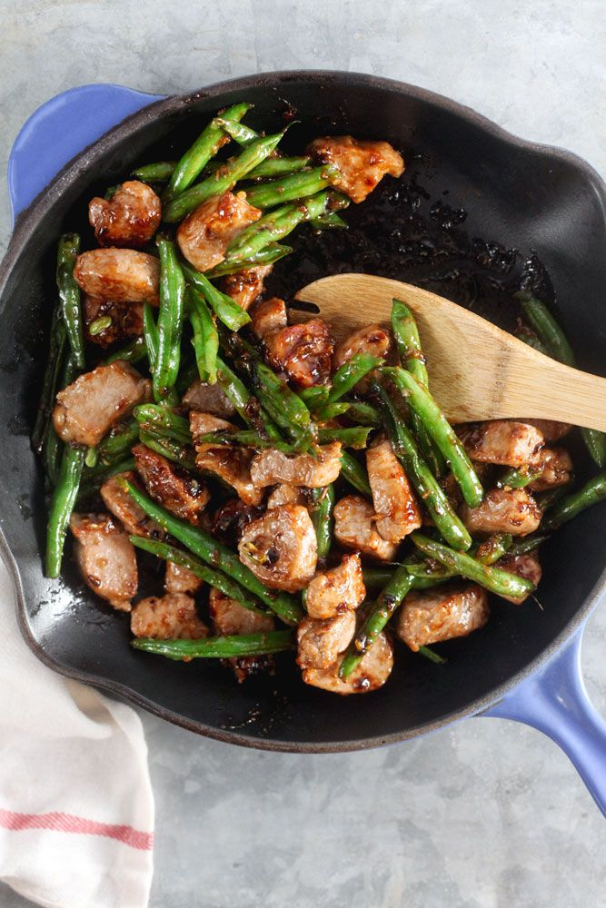 Honey-Ginger Pork Stir Fry with Green Beans ~ http://www.healthy-delicious.com