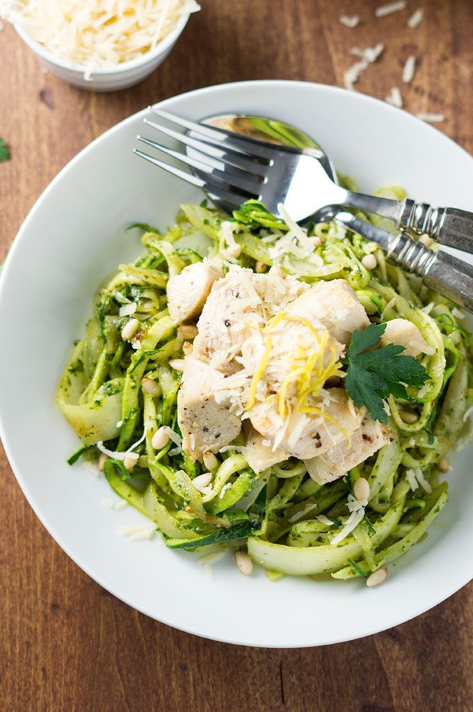 Pesto Zoodles with Chicken - Bound By Food