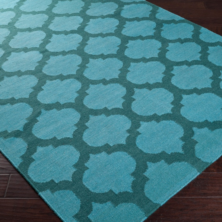frontier moroccan aqua hand woven #wool #rug #interior #design (Hmm, copy with lots of paint, a dropcloth, and a stencil?)