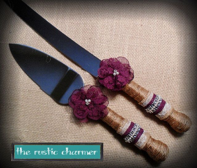 Wedding cake knife set, Rustic knife set, Burlap cake knife & server set, YOUR CHOCIE COLOR, Plum purple cake knife set,Rustic/Country/Beach by therusticcharmer on Etsy https://www.etsy.com/listing/257230866/wedding-cake-knife-set-rustic-knife-set