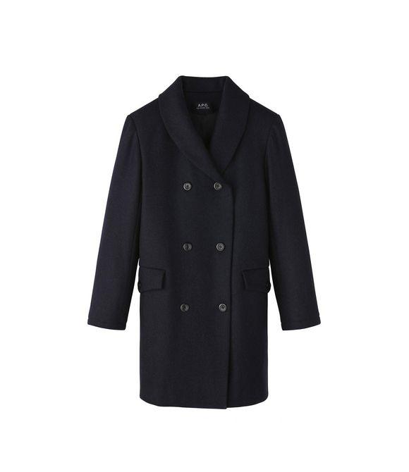 Manteau col châle en laine épaisse Bleu - A.P.C. FEMME