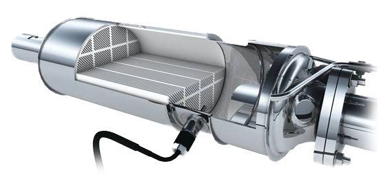 przekrój filtra cząstek stałych DPF