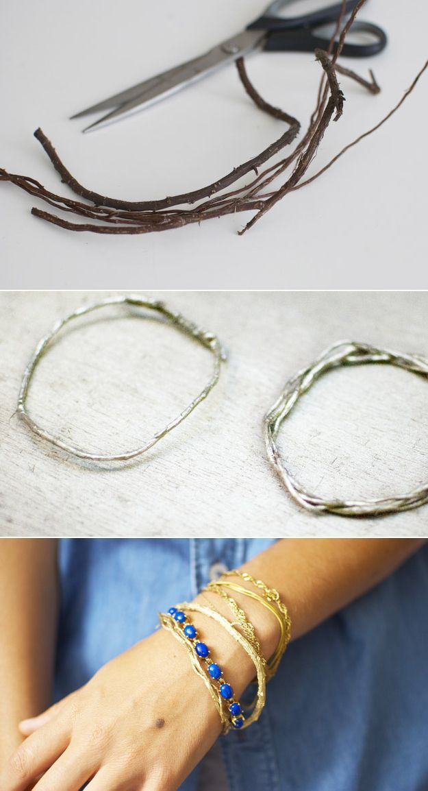 This site has all kinds of simple DIY jewelry ideas including these cool metallic twig bracelets!