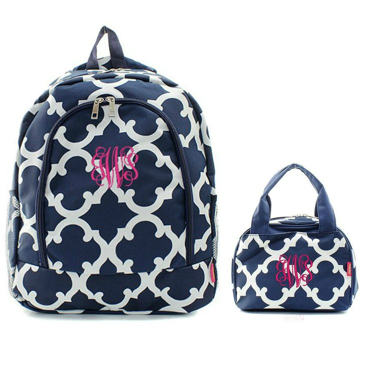 Matching Moroccan Navy Personalized Kids Backpack & Lunch Bag Set