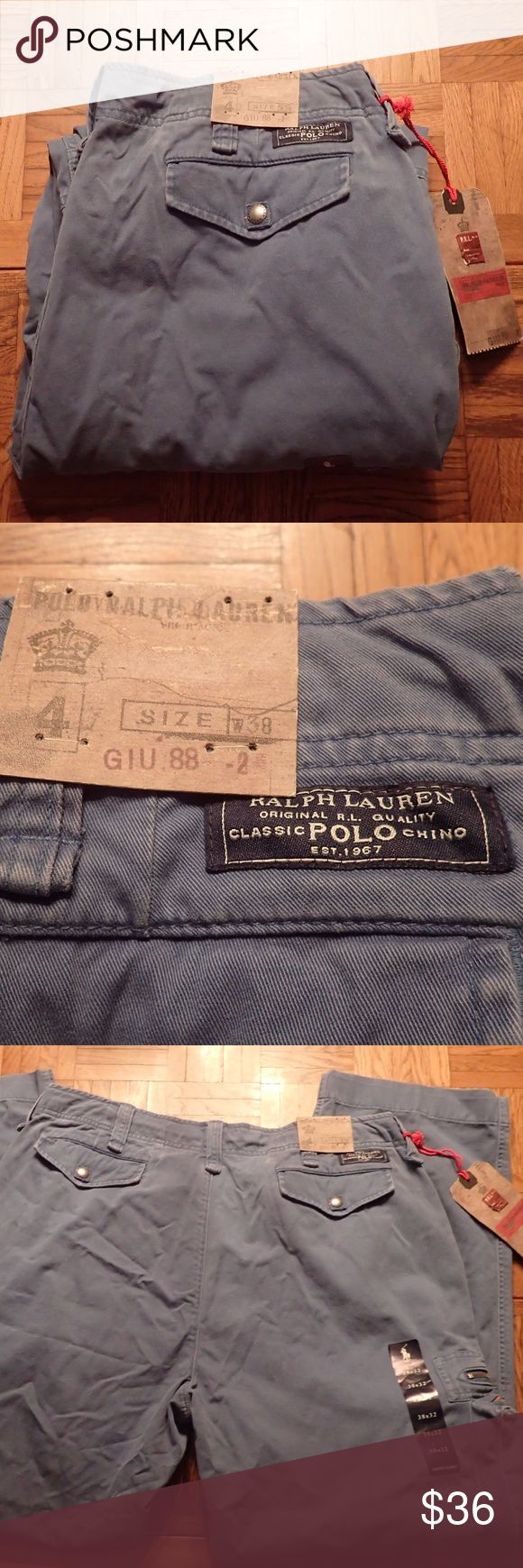 NWT Polo by Ralph Lauren Blue Cargo Pants NWT Polo by Ralph Lauren Blue Cargo Pants  * Size 38 x 32 * Multiple pockets with orange and silver zipper accents Polo by Ralph Lauren Jeans Straight