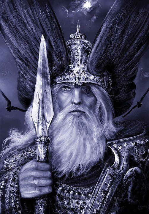 Odin, arrayed for battle armed with Gungnir and flanked by Hunin and Munin. The Norse did not believe their gods immortal. Even Odin, the chief of their pantheon was fated to die at Ragnarok, fighting the all-devouring Wolf, Fenrir.