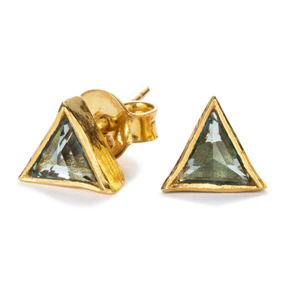 Summer triangular stud earrings / cosmos collection / Black Betty