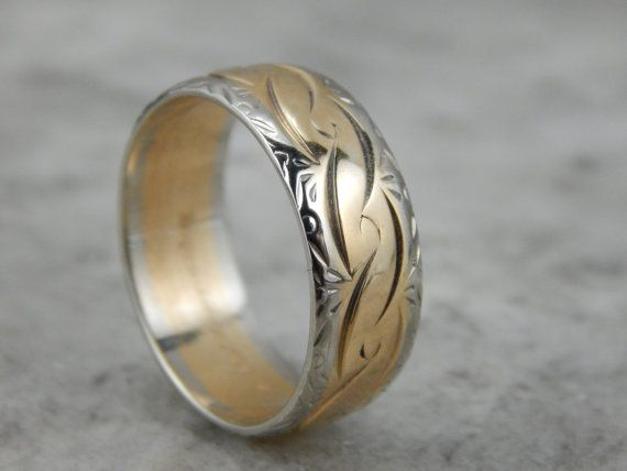 Vintage Two Tone Wedding Band With Continuous Pattern Water Wave Theme