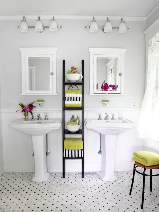 Open shelving opens up your entire bathroom space! Click through for more towel display ideas: http://www.bhg.com/bathroom/storage/storage-solutions/bathroom-towel-display-ideas/?socsrc=bhgpin061814inplainsight&page=2