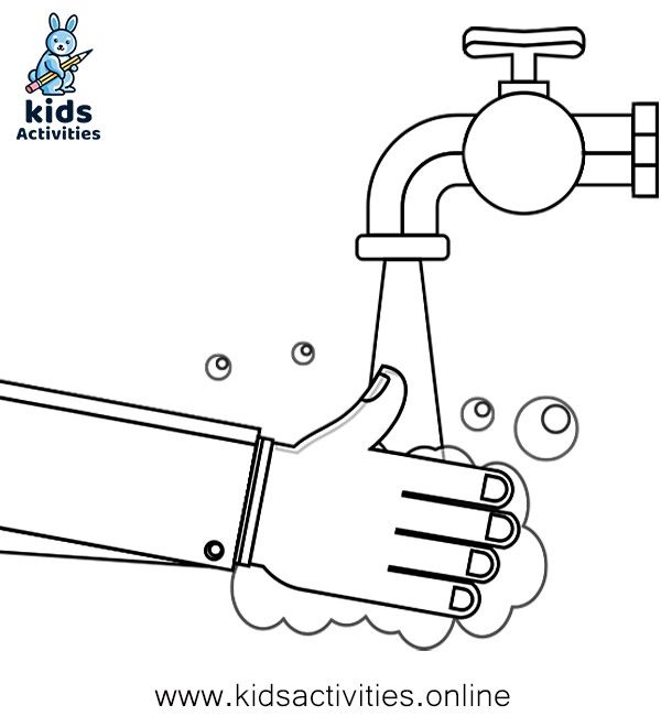 Free Hand Washing Coloring Pages For Preschoolers Kids Activities Coloring Pages Hand Washing Islamic Kids Activities