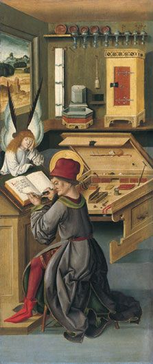 Saint Matthew the Evangelist, 1478, Gabriel Mälesskircher, Munich.   Will you get a load of that awesome flip up table...