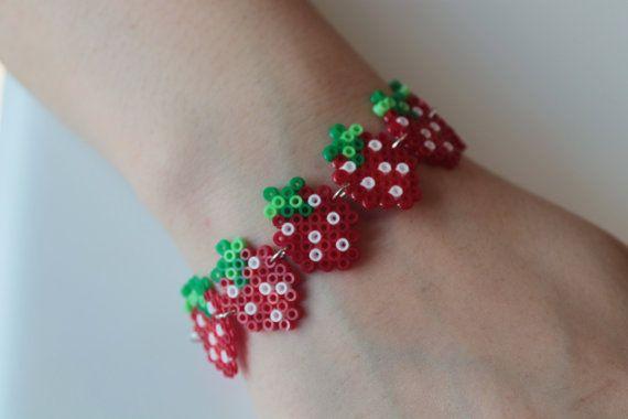 Yummy Scrummy Strawberry bracelet Handmade with mini Hama beads by ScarlettandEve