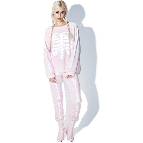 Wildfox Couture Womens Pink Skeleton Sweatpants ($78) ❤ liked on Polyvore featuring activewear, activewear pants, slim fit sweatpants, pink sweatpants, wildfox sweatpants, slim sweat pants and slim sweatpants