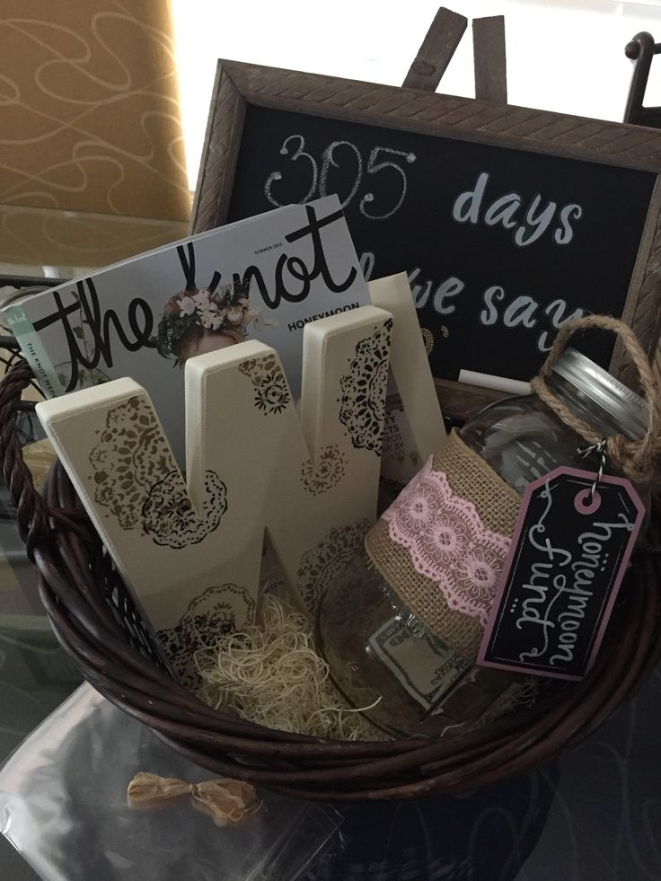 I've recently made this for a friends engagement party. EVERYTHING IS FROM MICHAELS except basket!  The basket -- World Market. World Market supplies baskets with the clear wrapping and hay that goes in the bottom for about $8.  The W- $4. I used some paint and added some designs with a stencil. Mason jar- $6 Chalk Board - $10 Honey moon fund tag- thick paper and used a white marker to write on it. Very easy and creative to make! The bride loved it!