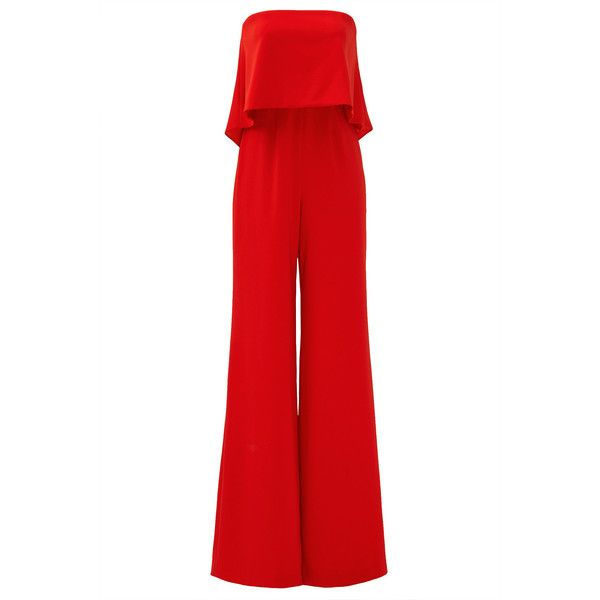Rental Jay Godfrey Red Retro Ruffle Jumpsuit ($75) ❤ liked on Polyvore featuring jumpsuits, dresses, red, jump suit, ruffle jumpsuit, red jumpsuit, retro jumpsuit and red strapless jumpsuit