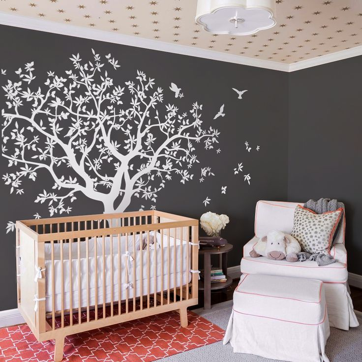 Large Tree Wall Decal White Tree Wall Decal Wall Mural Stickers Wall Decals  Decor Nursery Tree And Birds Wall Art Tattoo Nature   NT040