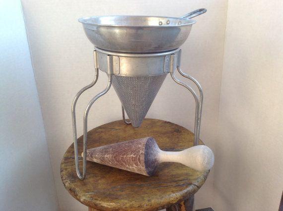 Vintage Food Mill Aluminum Food Sieve Wood Pestle by sowandgather