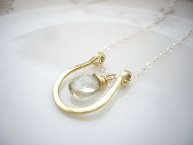 Gold and silver lucky Horseshoe necklace with gemstone, Teardrop green amethyst, Delicate simple jewelry, Silver chain, OOAK lucky gift - pinned by pin4etsy.com