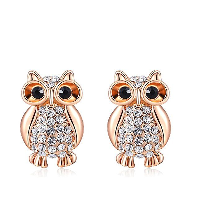 Purple and Black on Gold Plated Small Owl Earrings 7A10Pk