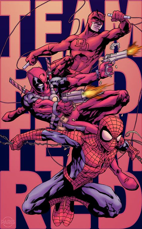 Team Red- Daredevil, Deadpool, and Spiderman