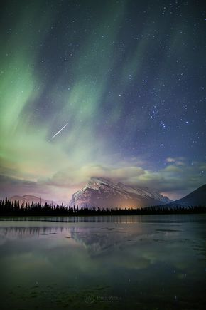 Night of the Taurids ~ A Taurid meteor rips through the atmosphere as the aurora rages on. A night of magic at Vermilion Lakes, Banff National Park.