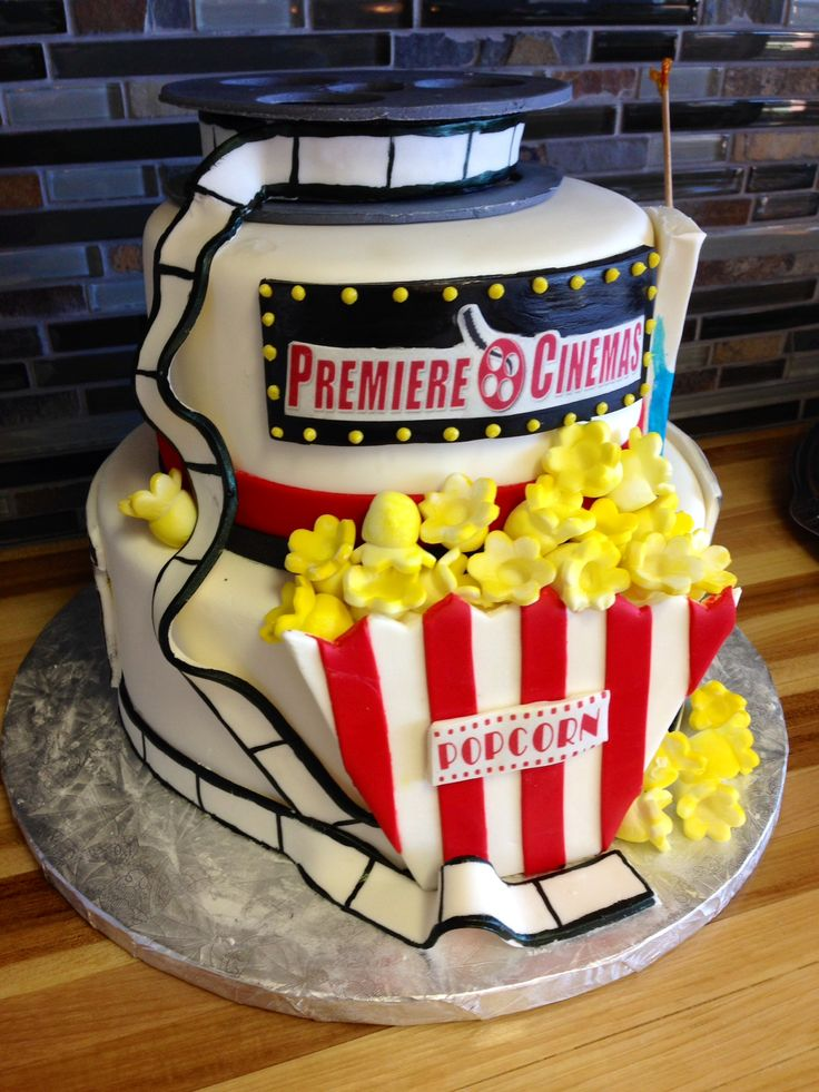 Premiere Cinema Anniversary Movie Cake Popcorn Film