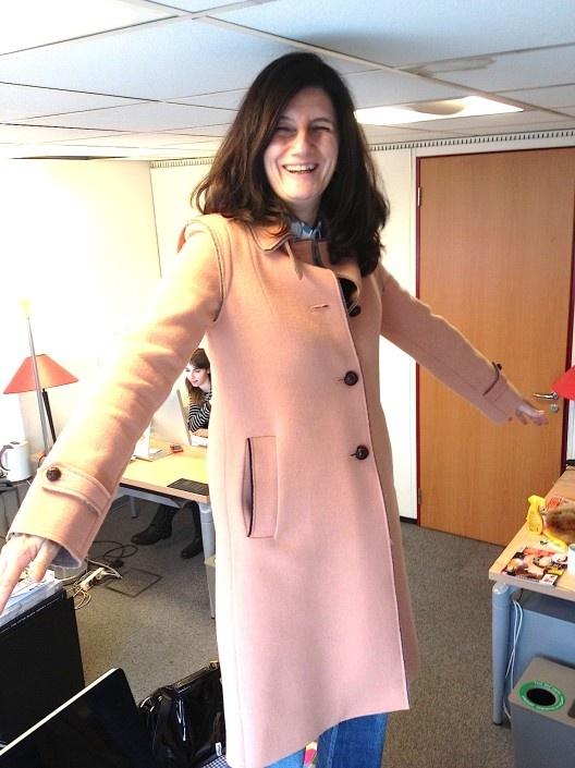 Sophie Fontanel par DailyElle - manteau rose pâle lodental andrea provvidenza loden 2013