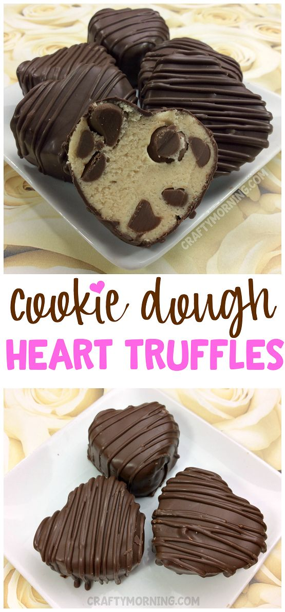 Make cookie dough heart truffles for a Valentine's Day treat! They make the perfect gift bags for kids and friends! This no bake cookie dough recipe is delicious. Easy dessert idea.
