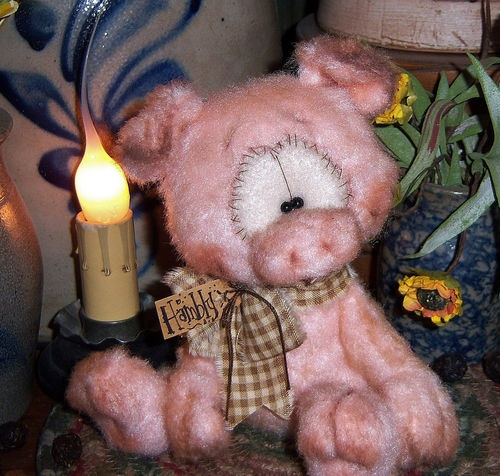 "Primitive Raggedy Pink Pig Fuzzy Piglet Bear 5"" Doll ★ Vtg Patti's Ratties Ornie"