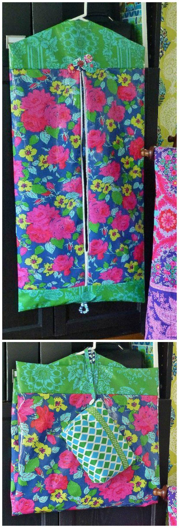 Free pattern and tutorial ...♥♥... for how to sew your own garment bag.  Travel in style or just use it at home to protect a favorite dress or suit.  Can also be made in laminated fabrics for a water resistant bag too.