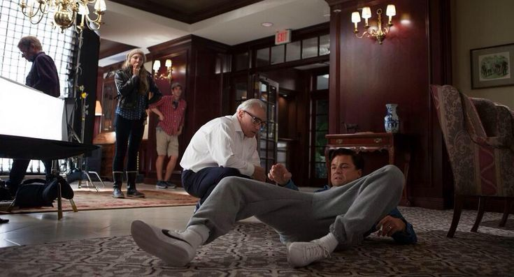 Martin Scorcese directing Leonardo DiCaprio in The Wolf of Wall Street.  This scene had me in tears of laughter!