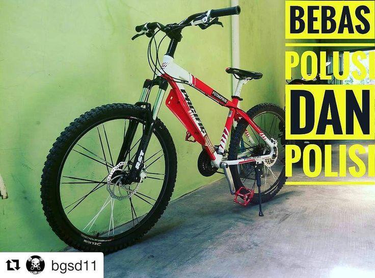 #Repost @bgsd11  bisa aja si om :D  Polusi=polisi  #pacificbikes #pacificbikerider #sepeda #sepedagunung #bersepeda #gowes #hardtail #mountainbike #mtbindonesia #crosscountry
