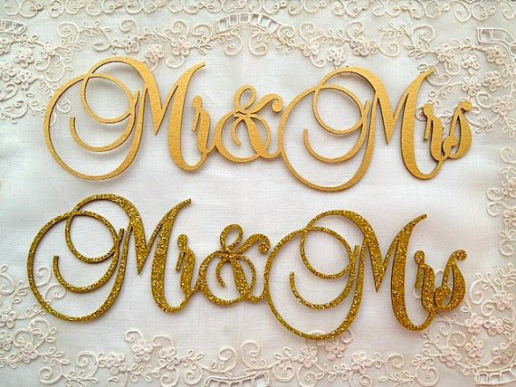 Mr & Mrs Gold Wedding Sign 50th Golden Wedding Anniversary Signage Glitzy Glam Glitter Words Wedding Reception Decor