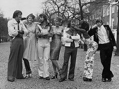 18th April 1973: Ian Hutchinson, Alan Hudson, Steve Kember and Bill Garner of Chelsea FC join with professional models to show off a collect...