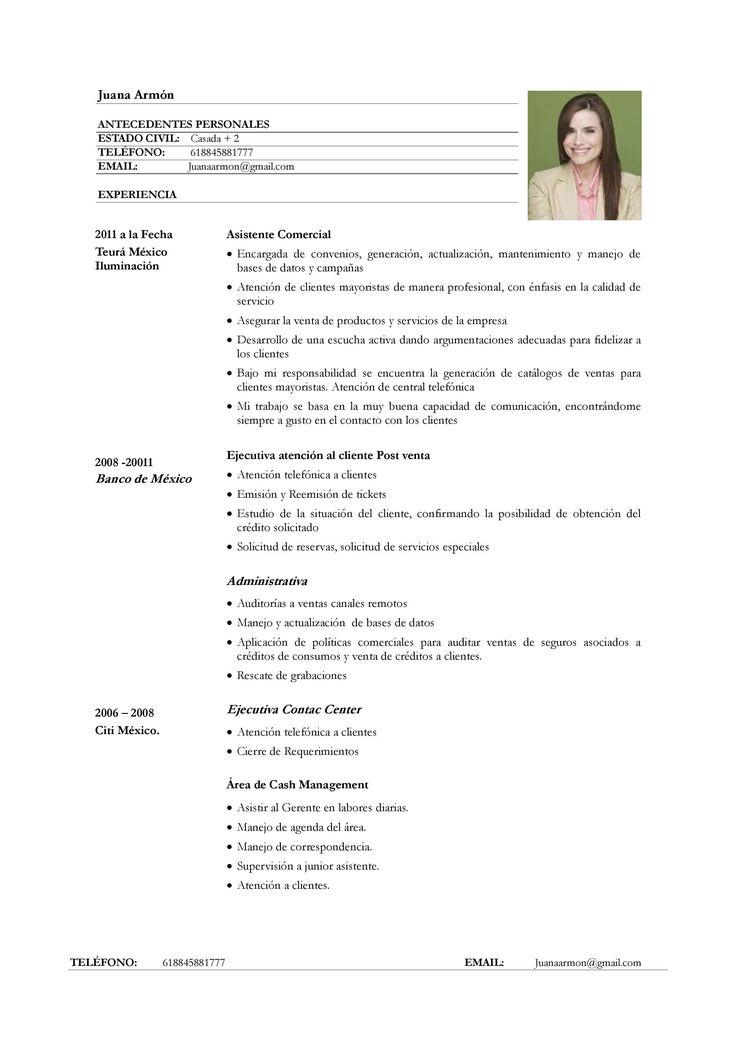 ejemplo de curr u00edculum vitae para servicio de atenci u00f3n al cliente