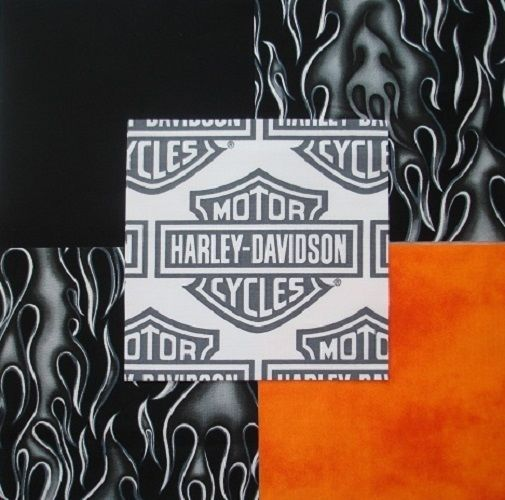 """32 6"""" HARLEY DAVIDSON Logo Shield Black flames Orange blend Quilt Fabric Squares"""